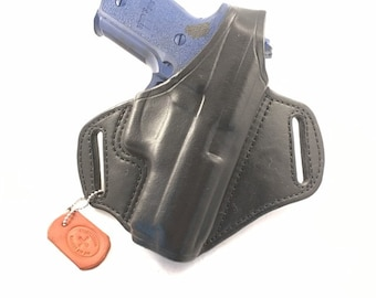SIG p229 with retention strap - Handcrafted Leather Pistol Holster