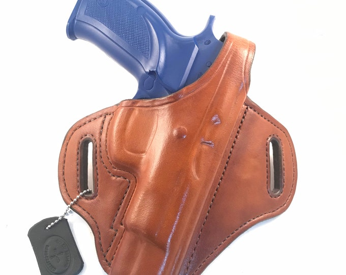 CZ 75 B with retention strap - Handcrafted Leather Pistol Holster