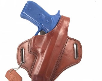 Beretta 92FS Compact with Retention Strap - Handcrafted Leather Pistol Holster