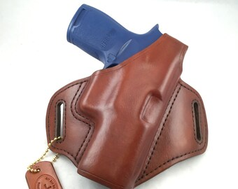 SIG p320 Carry/Compact with retention strap - Handcrafted Leather Pistol Holster