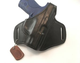 S & W MP Shield 40/9 with retention strap - Handcrafted Leather Pistol Holster