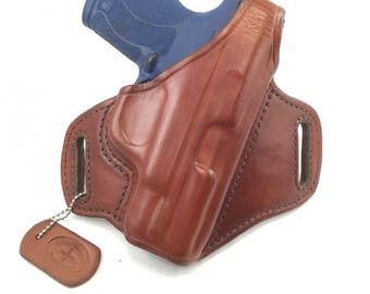 S & W MP Shield 45 with retention strap - Handcrafted Leather Pistol Holster
