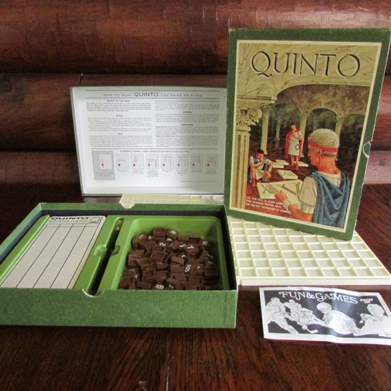 Quinto Vintage Board Game Vintage 3m Bookshelf Game 1968 Game Of Fives 2 To 4 Players Numbers Game