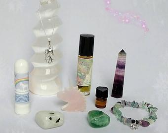 Rainbow Unicorn Luxe Gift Box with Unicorn necklace filled with Aromatherapy, Gemstones, Jewelry, Love, Rainbows & Unicorns