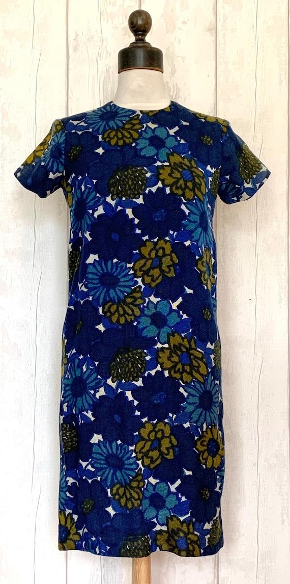 1960s Pop Flower Mini Navy Dress Ruffle Collar Empire Waist Mod Op Art Psychedelic Floral Dice Patterns Small Size