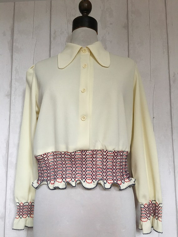 Original 1970s Cream Shirred Beagle Collar Disco C