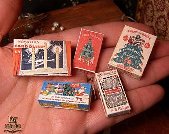 5 CHRISTMAS DECORATION Vintage Retro Original BOXES. Digital download . Miniature. Scale 1:12. Easy tutorial. scalable for Blythe Barbie..