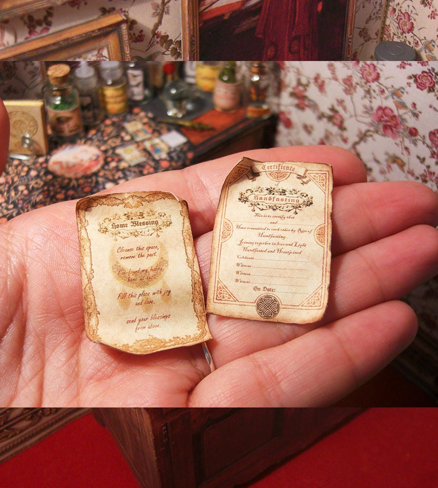 Two Miniature Wicca Scrolls Blessing Home Spell Etsy