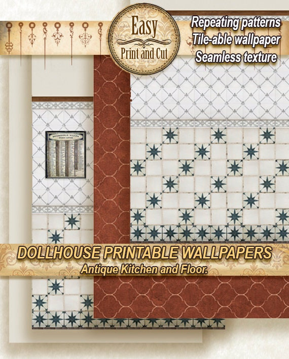 Dollhouse Wallpaper Antique Kitchen And Floor Tiles Etsy