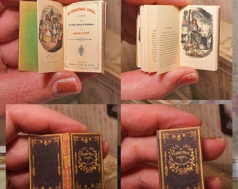First Edition Christmas Carol . Miniature OPENABLE illustrated book . Charles Dickens . tutorial . DOWNLOAD . scale 1:6, 6th .