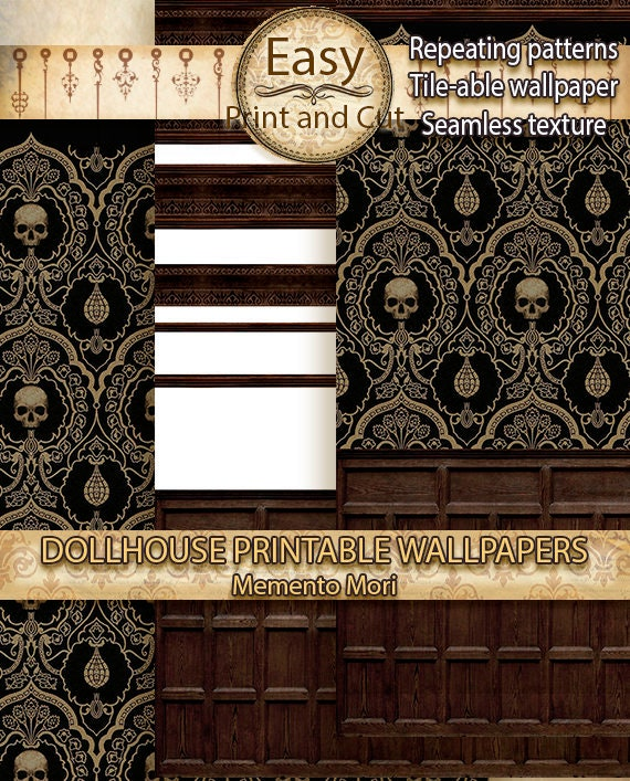 Dollhouse Wallpaper Memento Mori Halloween Wood Panel Tiles Printable Digital Download Victorianrepeating Patterns 112 Miniature