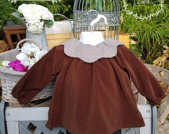 Brown velvet flower gingham blouse