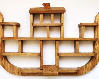 Handmade Vintage Wooden Noah's Ark Shelf