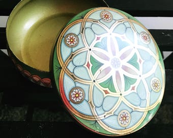 Vintage Collectible Meister Storage Tin, Made in Brazil, Art Deco Design with Arabesques and Floral Motif