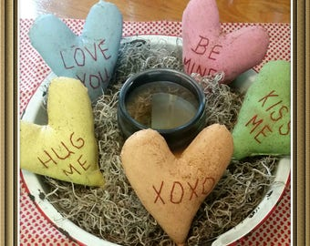 primitive conversation Valentine hearts, heart bowl fillers, Valentines Day decor, prim Valentines, heart tucks, OFG, FAAP, farmhouse decor
