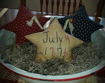 primitive patriotic Americana star bowl fillers, July 4th stars, Independence Day star tucks, OFG, FAAP,  red white blue star bowl fillers,