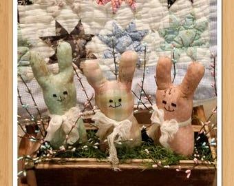 primitive pastel bunny tucks, bunny bowl fillers, Easter bunny tucks, Spring bunnies, OFG, FAAP, Easter decor, Spring decor, prim bunnies