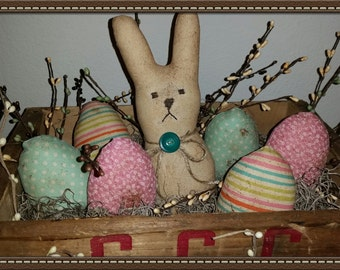 primitive Easter bunny and eggs bowl fillers, prim bunny and eggs, prim rabbit, OFG, FAAP, bunny and eggs tuck, spring bunny and eggs tucks