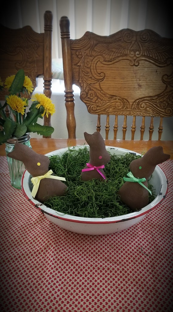 Primitive Chocolate Bunny Bowl Fillers with Chesecloth Easter Spring Set of 3