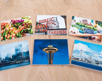 Seattle Color Photo Note Cards, Set of 6 Blank A2 Cards Featuring Seattle's Famous Pike Street Market, Space Needle and Skyline Views