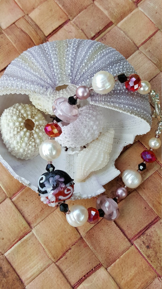 Gray and White Art Bracelet with Pearls and Crystals