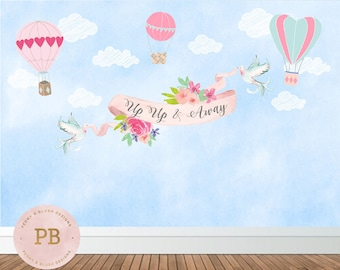 Digital Up Up and Away Backdrop, Up Up and Away Baby Shower, Up Up And Birthday, Hot Air Balloon, Up Up and Away Banner, First Birthday