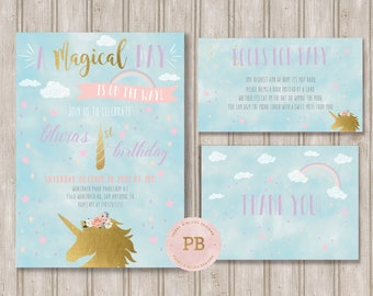 Unicorn Birhtday Invitation, Unicorn First Birthday, Unicorn Books for Baby, Unicorn Party, Unicorn Baby shower Invitation,