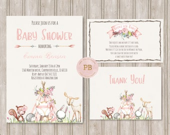 Woodland Baby Shower Invitation- Woodland Animal Birthday Invitation, First Birthday, Deer Invitation, Fox invitation