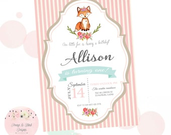 Woodland Little Fox Birthday Invitation, Little Fox Invitation, First Birthday, Woodland Invitation, Pink Invitation