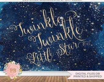 Digital Twinkle Twinkle Little Star Backdrop, Twinkle Little Star Birthday Backdrop, Twinkle Little Star Baby Shower Backdrop, Poster