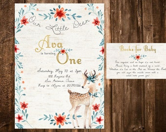 Deer Birthday Invitation, Woodland Invitation, Printable Invitation, Our Little Dear Party, Deer Invitation First Birthday