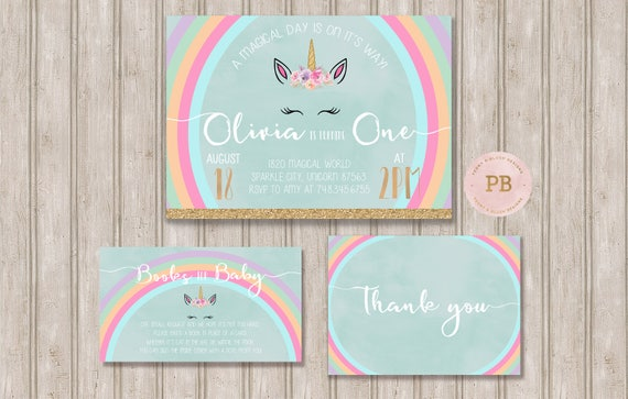 Unicorn Birthday Invitation First Baby Shower Books For Card Thank You