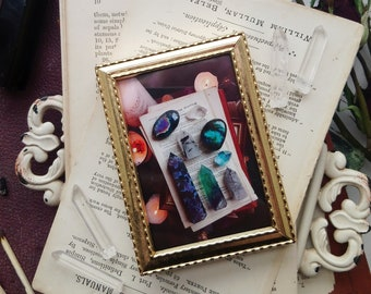 Mini Vintage Metal Frame with Witches Altar Business Card Print /