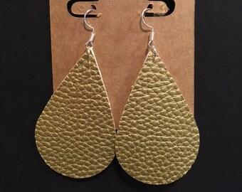 Medium Faux Leather Teardrop Earrings