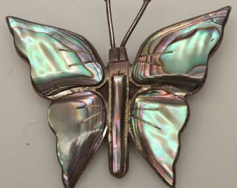 Sterling Silver 925 Abalone Shell Butterfly Brooch