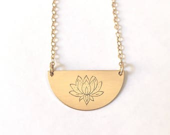 Half moon necklace, lotus flower, gold lotus necklace, gift for woman, gift