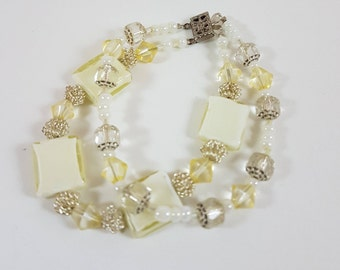 Pale Yellow and Cream Double Strand Bracelet
