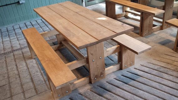 Bespoke Rustic Wooden Picnic Table Garden Furniture Patio Furniture Outdoor  Dining Picnic Bench