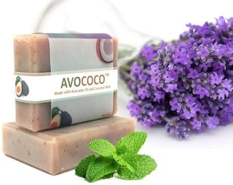 Lavender Mint Soap, Coconut Milk Soap,  Skin Care, Avocado Oil, Coconut, Natural Soap, Handmade Soap, Vegan Soap, Lavender Soap