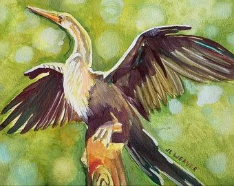 Anhinga Drying Original Watercolor and Gouache Painting