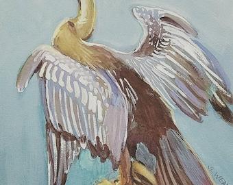 Resting Anhinga original watercolor amd guache painting