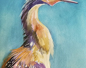Anhinga Cry Original Watercolor and Gouache Painting