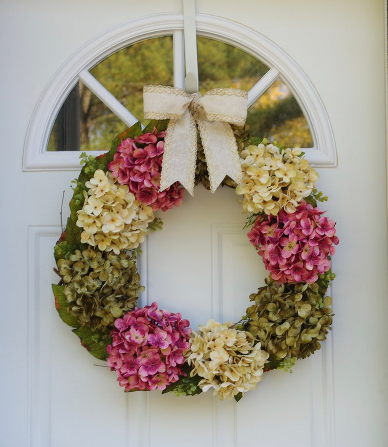 Silk Hydrangeas Wreath Wreath For Front Door Silk Flower Etsy