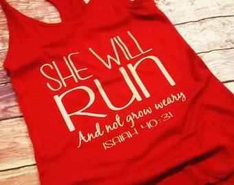 She will run and not grow weary, workout tank, soft feel, fast shipping