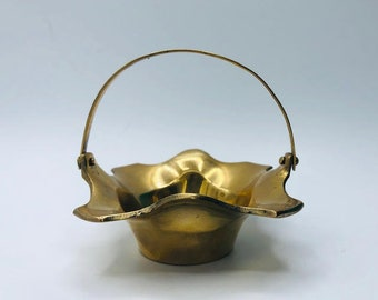 Small Vintage Brass Decorative Basket with Moving Handle