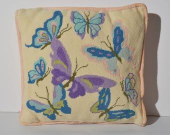 Butterflies vintage needlepoint pillow.