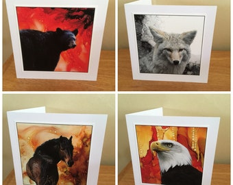Set of four note cards