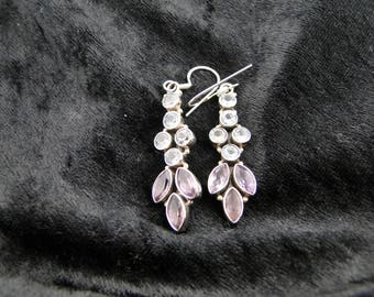 Sterling Silver Blue Topaz and Amethyst Earrings