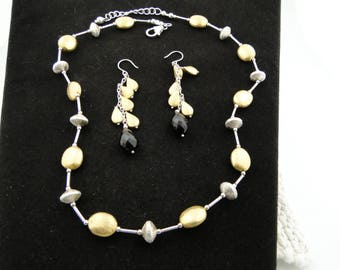 Sterling Silver and Gold Plated Necklace and Earrings with Onyx