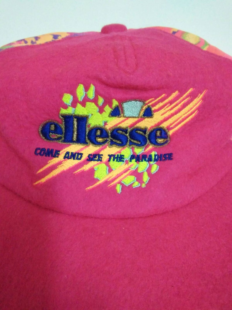 d8f343bbfaa Rare Vintage ELLESSE Hat Cap Neon Color Come and see